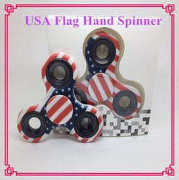 Wholesale National Ceramics - USA national flag Fidget Spinner Hand Spinners Ceramic Bearing Crazy EDC Finger Tip Rotation HandSpinner anxiety Toys DHL free