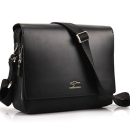 Wholesale Authentic Leather Bags - Wholesale- dollar 2016 fashion brand leather men shoulder bag, High Quality Brand New, Authentic Kangaroo bags, men's business bag