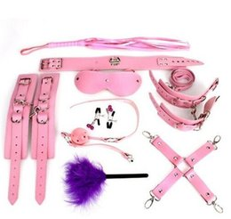 Wholesale Handcuffs Gag Bondage - Pink 9 Pcs Kit Set Sex Bondage Sex toys,slave Adult Games Toys Set handcuffs Footcuff Whip paddle mouth Gag Couples Erotic Toys