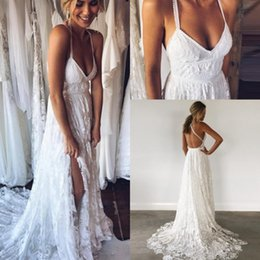 Wholesale V Neck Lace Dress Spaghetti Strap - Stylish 2017 V Neck A Line Floor Length Lace Appliqued Wedding Dresses 2018 Sexy Backless Spaghetti Straps Beach Summer Boho Bridal Gowns