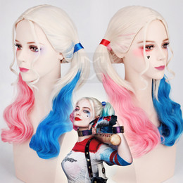 Wholesale Pink Pigtails - Halloween Cosplay Wig Suicide Squad Harley Quinn Cosplay Women Girls Wig Lolita Curly Pigtail Hair Pink + Blue Curly Hair Heat Resistant