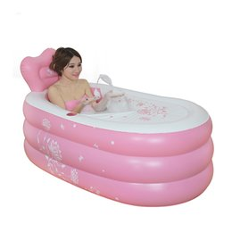 Wholesale Bathtub Tub - Wholesale- Inflatable Pool Large size folding Thickening adult warm keeping eco-friendly PVC tub bath barrel bathtub 150x90x48cm