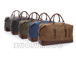 Wholesale high density bags - Leather canvas duffel bag Large capacity luggage Bag Garments packs handbag Outdoor packs 2017 new high density wash canvas
