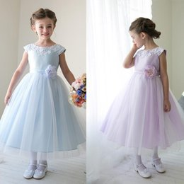 Wholesale Ball Gown 22 - Lace Applique Custom Cute Little Flower Girl Dress Tea Length Hand Made Flowers Bows Kids Prom Birthday Dress Cheap 22