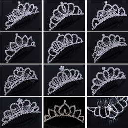 Wholesale Hair Combs For Weddings - Shining Rhinestone Crown Girls' Bride Tiaras Fashion Crowns Hair combs Bridal Headpieces Accessories Party Hair Jewelry For Wedding Events