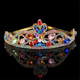 Wholesale Colorful Crystal Comb - Simple Colorful Queen Girls Party Crowns Headband Jewelry Womens Hair Jewellery Wedding Comb Baroque Tiaras Para Casamento