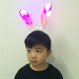 Wholesale Pink Sexy Bunny Costume - Rabbit Ear Head band Led Light Rabbit Ear Plush Headband Sexy Bunny Costume Animal Party Gifts