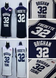 Wholesale Color Blue Jersey Basketball - Cheap Sale 32 Jimmer Fredette College Jerseys 2016 Brigham Young Cougars Shirt Uniforms Team Color Navy Blue White Breathable Free Shipping