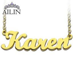plaques de nom d'or en gros Promotion Gros-Freeshipping - Karen Style nom collier plaqué or sur cuivre initiales personnalisé bijoux collier personnalisé parfait cadeau