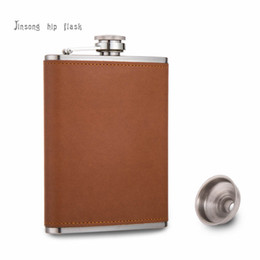 Wholesale Leather Bottle - 227 ml Flask 8 oz brown leather hip flask Food Grade Stainless Steel drinkware Alcohol Liquor Whiskey Bottle gifts