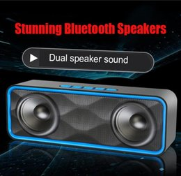 Wholesale Wholesale Audio Horns - SC211 mini Wireless Bluetooth speaker Outdoor portable Double horn Subwoofer audio support TF cars  FM radio USB