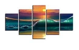 Paneles de paisaje marino online-Wall Art 5 Panel Beautiful Seascape Olas verdes en la mañana Imágenes para la decoración de la sala de estar