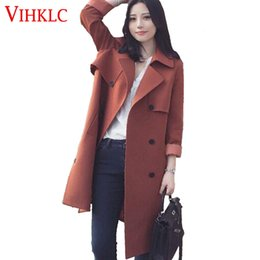 Wholesale high fashion coat for ladies - Spring Autumn Trench Coat 2017 New Fashion Casual Women's Windbreaker Long Outerwear Loose Clothes For Lady High Quality G390