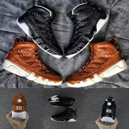 Wholesale Lace Up Gloves - 2018 Newest mans shoes 9 9s Baseball Glove pack Man basketball shoes Black Brown New arrival Brand Men sport trainer Sneakers 8-13