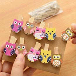 Wholesale Wooden Paper Clips - 10PCS Mini Owl Wooden Photo Paper Peg Pin Decorative Clothespins With Rope Home Organization Crafts Wooden Postcard Pegs Clips