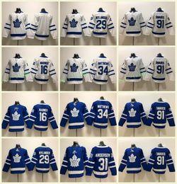 2019 ragazzi hockey jersey in bianco Youth Kids Toronto Maple Leafs # 91 John Tavares maglie 34 Auston Matthews 29 William Nylander 16 Mitch Marner Bianco blu bianco cucito ragazzi hockey jersey in bianco economici