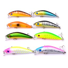 Wholesale Boat Fish Games - New 8PCS set 7.9G 5.8cm Mini Minnow 3D eyes plastic hard baits spinner wobblers bass catfish boat fishing gear tackles fish lure