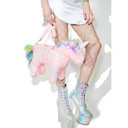 Belos sacos com zíper on-line-New Pink Unicorn Sacos Do Mensageiro 2018 Bonita Senhora Bonito Dos Desenhos Animados Zipper Veet Fur Designer Handbag Funning Saco Do Partido Crossbody
