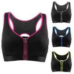 2019 lindo peito negro Mulheres Racerback Workout Regata Sutiã Esportivo de Fitness Musculação Acolchoada Frente Zíper Hy