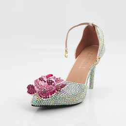Wholesale Sex Dress High Heel - Sex Lady Summer Sandal Wedding Shoes Crystal AB Rhinestones With Rose Flower 9CM High Heeled Dress Party Shoes