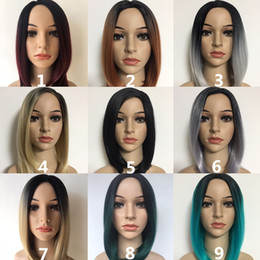 Wholesale auburn bob wig - Fashion Short Ombre Black Brown Wigs For Black Women, 12 14 Inch Straight Synthetic Bob Wig Factory Direct Full Wigs