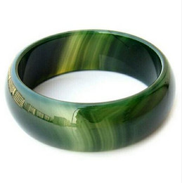 Brazalete de jade verde natural online-Pulsera pping Pure Natural Green Agate en BrasilJewelry Gift Jade Bangle For Women