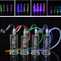 """Wholesale Hose Lead - LED Bong Led Light Glass Bongs Glow Spiral Recycler Dab Rigs Water Pipes 4.5"""" inch Oil Rig 10mm Joint Water Bong with Banger and 20"""" Hose"""