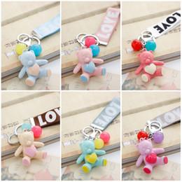 Wholesale Ribbon Bear - Random Color Korean Candy Bear Key Chain With Ribbon LOVE Printed Keyring 12pcs Set Bag Pendant Keychain Creative Gift Free DHL D536L