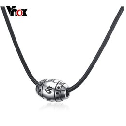 Wholesale Mani Padme - whole saleVnox Mens Om Mani Padme Hum Necklace Classical Religious Choker Necklace Male Prayer Jewelry with Black Leather Rope