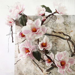 Wholesale Long Branches Artificial Flowers - 185cm Nylon Flower Artificial Azaleas Magnolia Artificial Branches White Cuckoos Long Stem Arbitrary Bending New Silk Flower P30 For Party