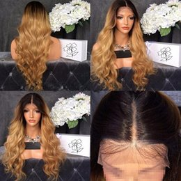 Wholesale lace front wigs color 27 - Charming New Sexy 1b 30 27# Ombre Blonde Body Wavy Long Wigs Synthetic Heat Resistant Glueless Lace Front Wigs for Black Women