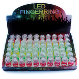 Wholesale led festival toys - LED Luminous Finger Ring Glow Diamond Rings Colorful Flash Light Rings For Children Adults Party Festival Toys Gifts Factory Free ship