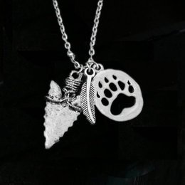 Wholesale Native American Indians - 12pcs lot Arrowhead Paw Print Necklace Bear Claw American Indian Arrow Feather Necklace Native American Jewelry