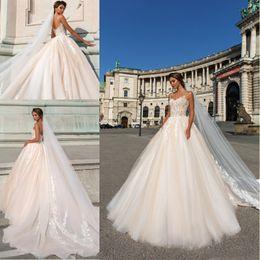Wholesale lace front corset - Spaghetti Straps Light Champagne A Line Wedding Dresses 2018 Lace Appliqued Tulle Floor Length Corset Back Bridal Gowns