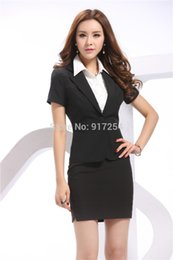 Wholesale Printing Forms - 2015 Newest Spring Summer Short Sleeve Form Career Suits Business Women Work Wear Sets Blazer Uniform With Skirt Plus Size XXXL