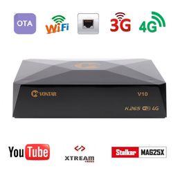 receptores de satélite usb Desconto 5 pcs VONTAR V10 H.265 Receptor de Satélite Digital DVB-S2 8PSK Suporte 3G 4G modem CS cline Stalker USB Xtream Wifi CCAMD NEWCAMD MGCAMD