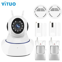 Wholesale Wireless Smoke Detector Cameras - YITUO Home Alarm Systems Security Protection 433mhz IP wifi Surveillance Camera Wireless Door Motion Smoke Sensor Detector
