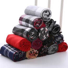 Wholesale Knit Scarves For Women - Brand Designer Plaid Men Scarf Winter Fashion Knitted Scarves Classical Plaid Scarf for Women Imitation Cashmere Scarves Tassel