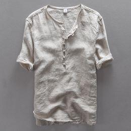 2019 camisas de lino para hombre Italia marca simple moda hombres camisa de  lino casual hombres 6b19de42e2bdc