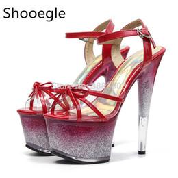 sandali sexy di notte Sconti Sexy Bling glitter 17 CM tacco alto donne PVC rosso night club danza sandali piattaforma nodo fibbia cinturino pompe per la sfilata di moda