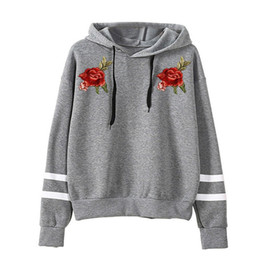 8f39e312f9893 Embroidery Rose Sweatshirt Hoodie Women Black Hoodied Pullover Jumper Hip  Hop Oversize Clothing