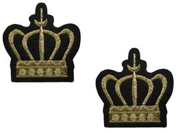 Wholesale Wholesale Iron Princess Patches - 50pcs Iron on Patches Gold Crown king princess Application Embroided patch badges Stickers 4.5x4.4cm