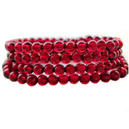 Wholesale Wine Transfer - 4 circles Collection natural wine red garnet bracelet female models multi-ring red garnet bracelet crystal transfer beads gift
