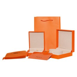 Marcas de papelaria on-line-Top quality luxo moda caixa de jóias set orange sacos de papel colar pulseira pulseira h marca varejo caixa de presente frete grátis