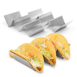 Wholesale Rack Roll - Pizza Rack Stainless Steel Taco Holder Stand Corn Rolls Display Holders Kitchen Restaurant Food Show Tool