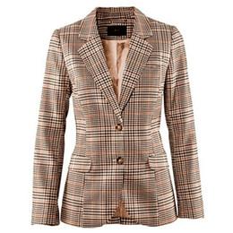 Codo de la chaqueta online-Las mujeres del otoño de la tela escocesa Blazers chaquetas del traje de la vendimia británica delgada de manga larga de la mujer revisaron el codo del remiendo de la capa prendas de vestir exteriores femeninas
