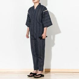Roupa de dormir tradicional on-line-Outono Japonês quimono pijamas set Algodão Sleepwear Robe e Calças Kimono Sono Homewear Japonês Tradicional Roupão Yukata 06