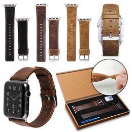2019 pulsera de cuero El más nuevo patrón de Crazy Horse Banda de cuero genuino para 42 mm 38 mm Apple Watch 3 2 1 Estilo de lujo de negocios informal iwatch Correa correa pulsera pulsera de cuero baratos