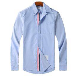 Maglietta a maniche lunghe online-mens designer thom magliette browne TB classic doppio manicotto Tri Color Ribbon moda camicia a maniche lunghe THOM per uomo maglietta casual