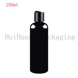 2019 bottiglia di shampoo bianca 40pcs 250ml tappo a vite disco cosmetica bottiglia bianca, contenitore di plastica, nero vuoto liquido shampoo bottiglie bottiglie 250cc bottiglia nera bottiglia di shampoo bianca economici